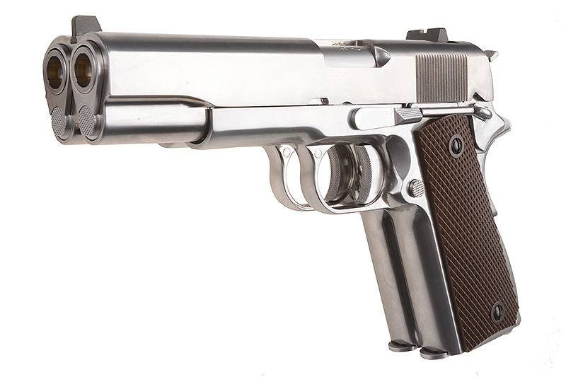 WE Tech 1911 Double Barrel GBB - Silber