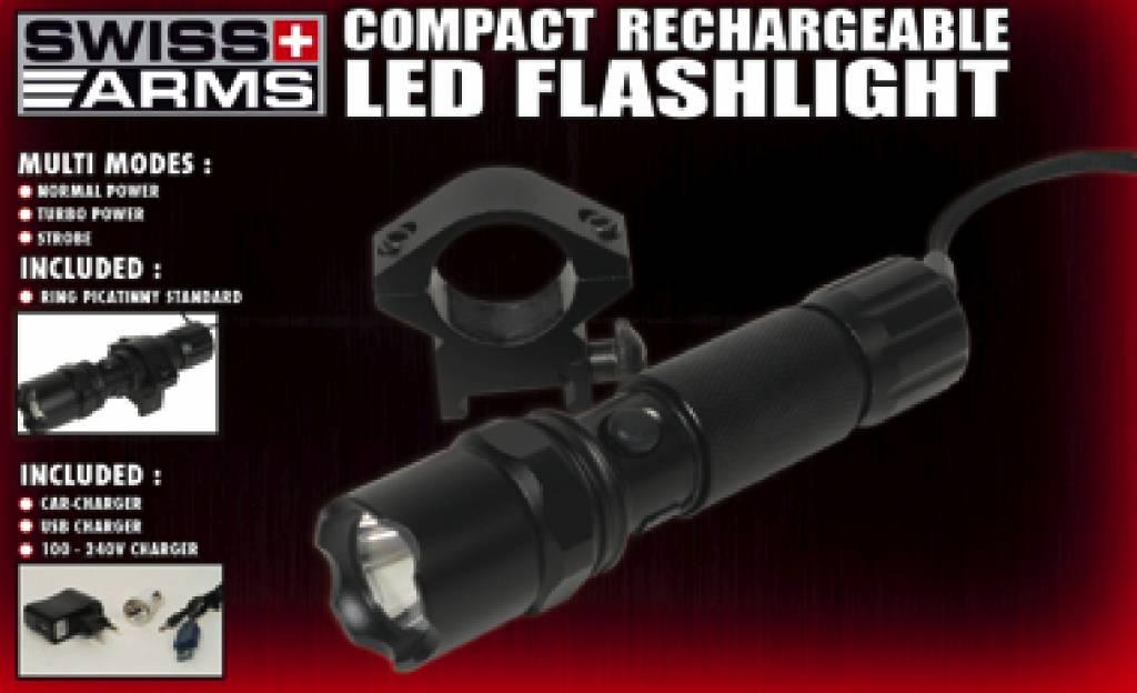 Swiss Arms LED Taclight mit 22mm Mount - wiederaufladbar - BK