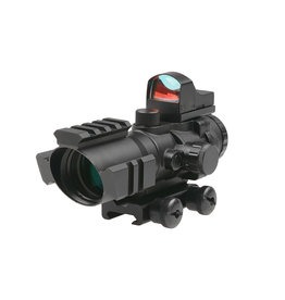 Theta Optics 4x32 Rifle Scope Rhino with Micro Red Dot - BK