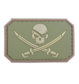 ACM Tactical 3D Rubber Patch Pirate Skull - OD