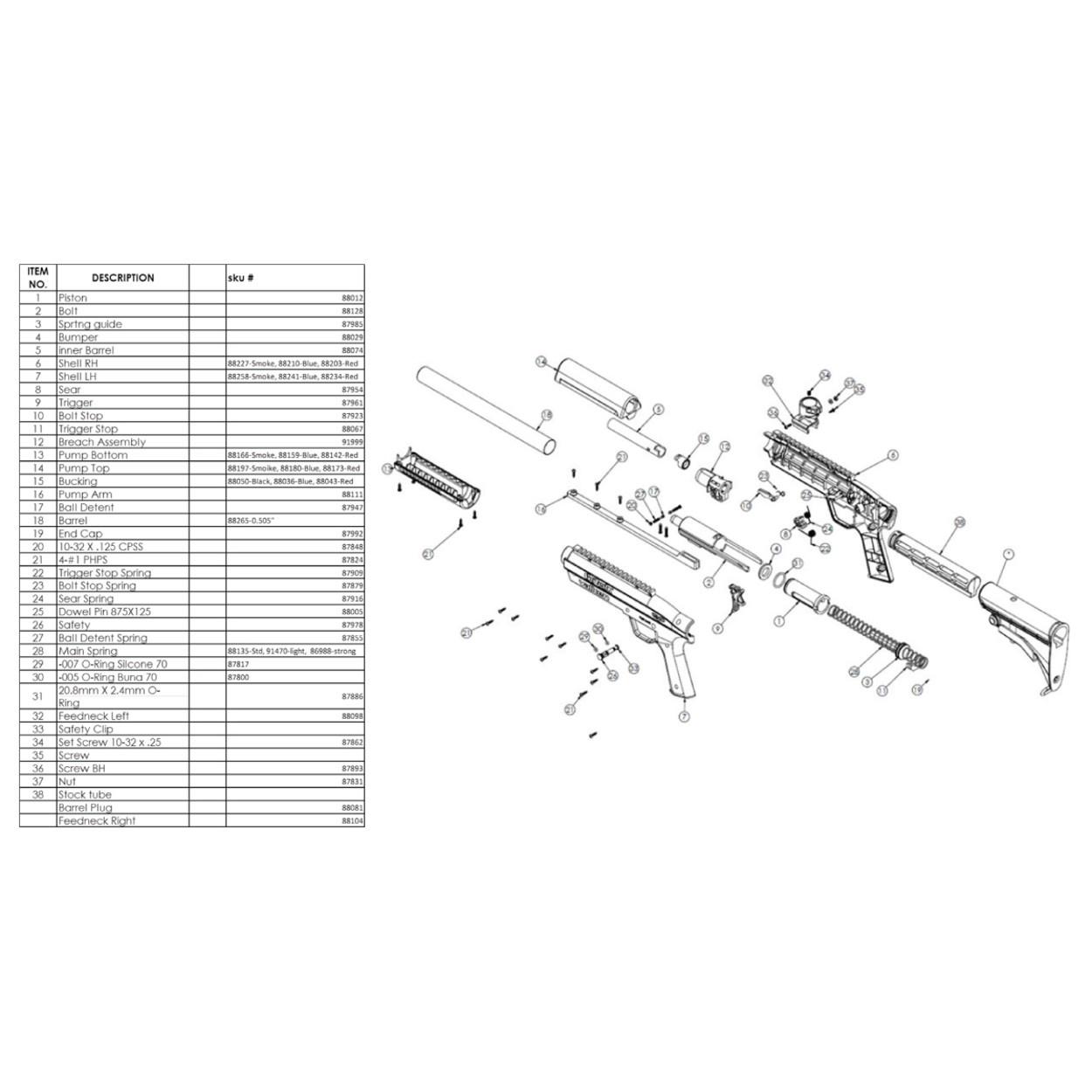 Valken Gotcha Paintball Kidz Shotgun - various spare parts