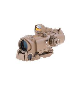 Theta Optics Lunette de visée 4x32E QD et RMR Weaver - TAN