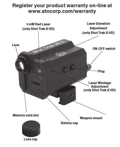 ATN Shot Trak-X HD Action Gun camera with laser - BK