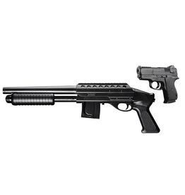 Cybergun Mossberg Tactical Kit Spring Shotgun + .45 pistolet - BK