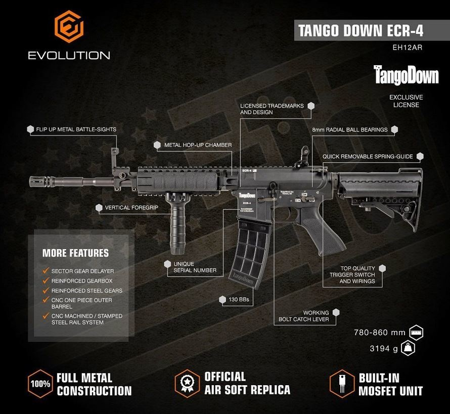 Evolution King Arms Tango Down ECR-4 AEG 1,0 Joule - TAN