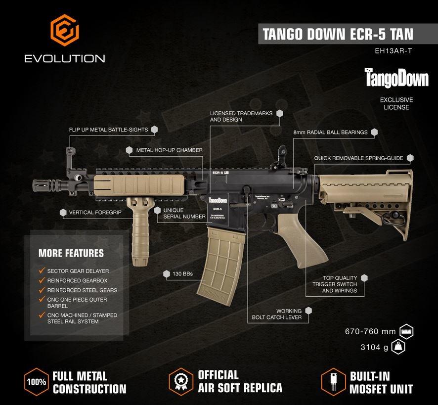 Evolution King Arms Tango Down ECR-5 AEG 1,0 Joule - TAN