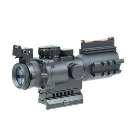 JJ Airsoft 4x32 Taktisches Zielfernrohr beleuchtet mit Laser - BK