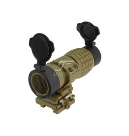 JJ Airsoft 4x FXD Magnifier With QD Mount And Killflash - TAN