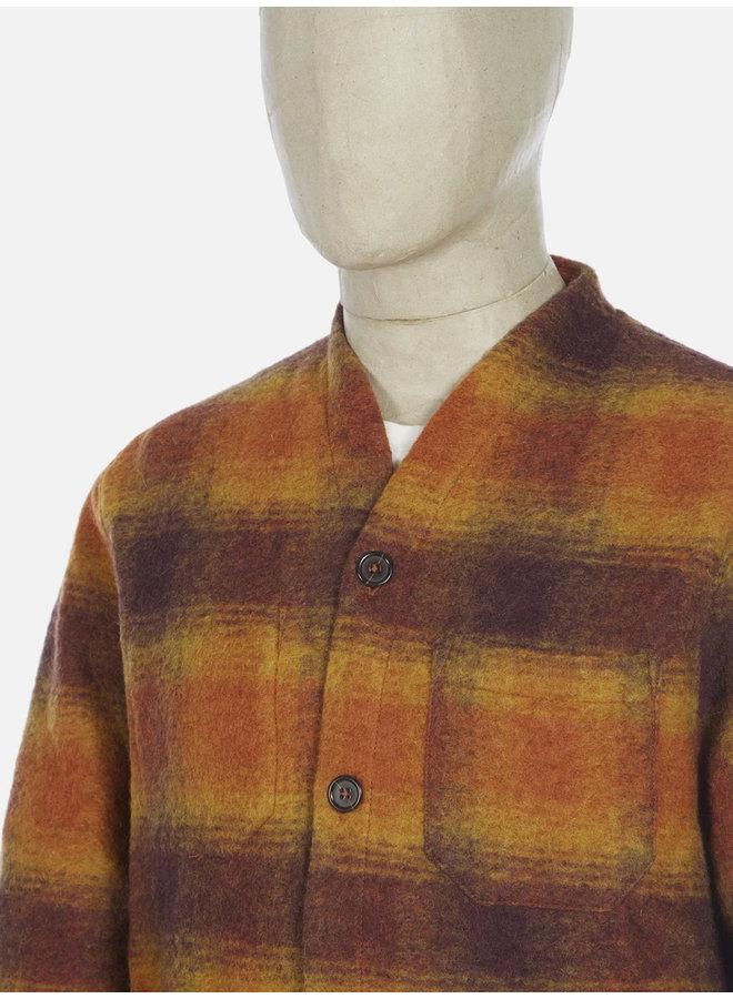 Cardigan check wool fleece