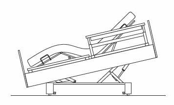 Das Bild zeigt eine Skizze der Komfortsitzautomatik des Pflegebetts BonCasa