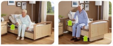Das Seitenlehnensystem des Pflegebetts für Zuhause
