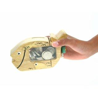 Wooden animal moneybox 15x10cm.