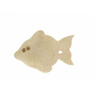 Wooden Guppy fish 5cm. ,