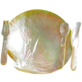 SEAURCO Mother of Pearl Plate with Cutlery