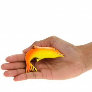 Painted Dolphin Shape 8cm Red/Orange