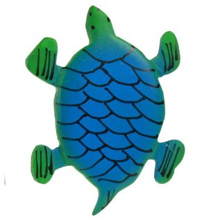 Painted Turtle Shape 8cm Green/Blue