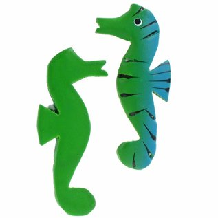 Painted Sea Horses 8cm Flatback Green/Blue