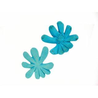 Wooden Flower, 8cm blue.