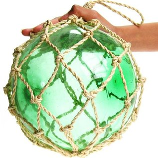 25cm Green Glass Float with Green Rope