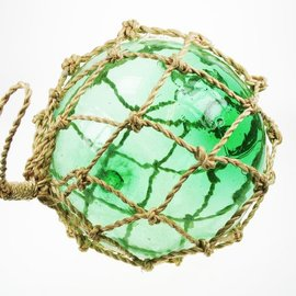 20cm Green Glass Float with Green Rope