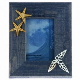 Blue Photo Frame with Seashells Motif 10X15