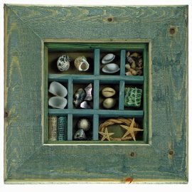 Green Maritime Picture with Shells, 15x15cm interior with 50mm frame