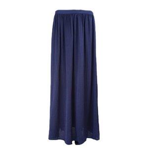 Maxi rok satijn donkerblauw