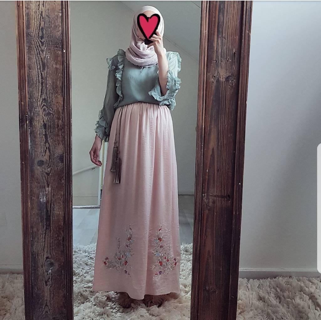Maxi rok avola zacht roze