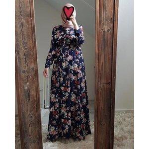 Maxi jurk rimini 146 blauw print