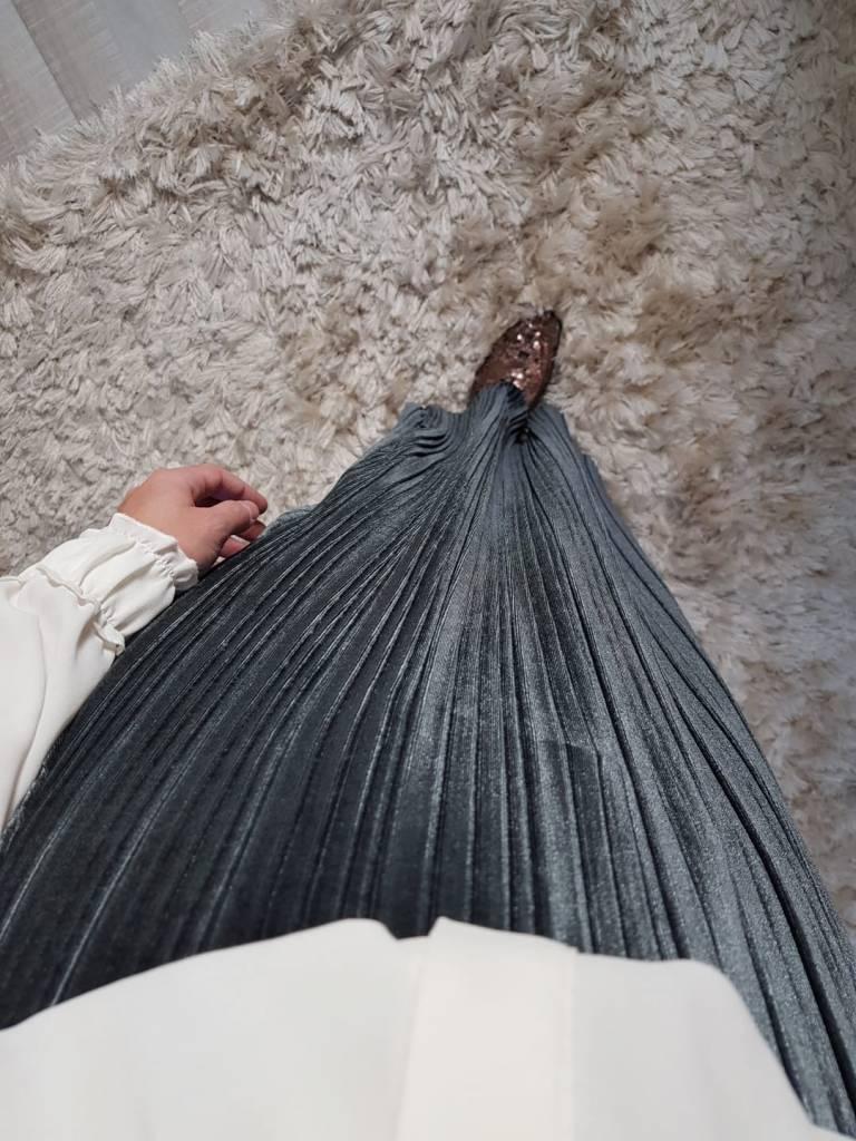 Velours plisse rok sapri grijs