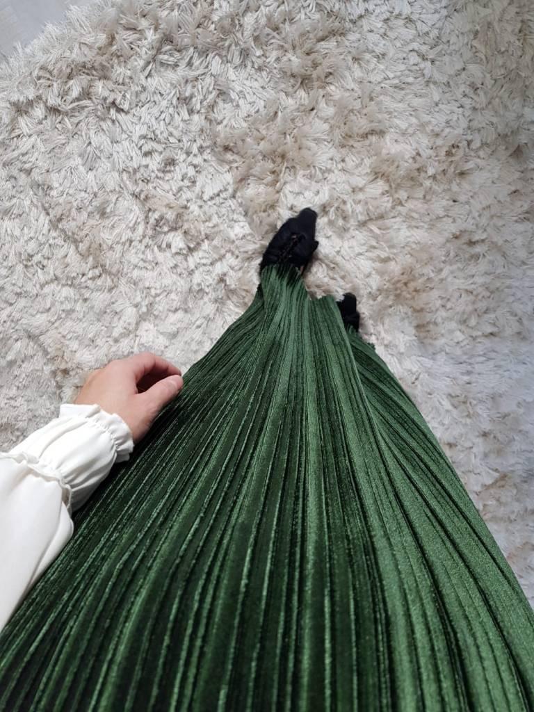 Velours plisse rok sapri groen