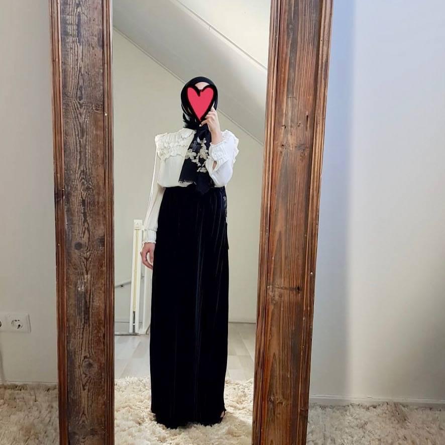 Velours plisse rok sapri zwart
