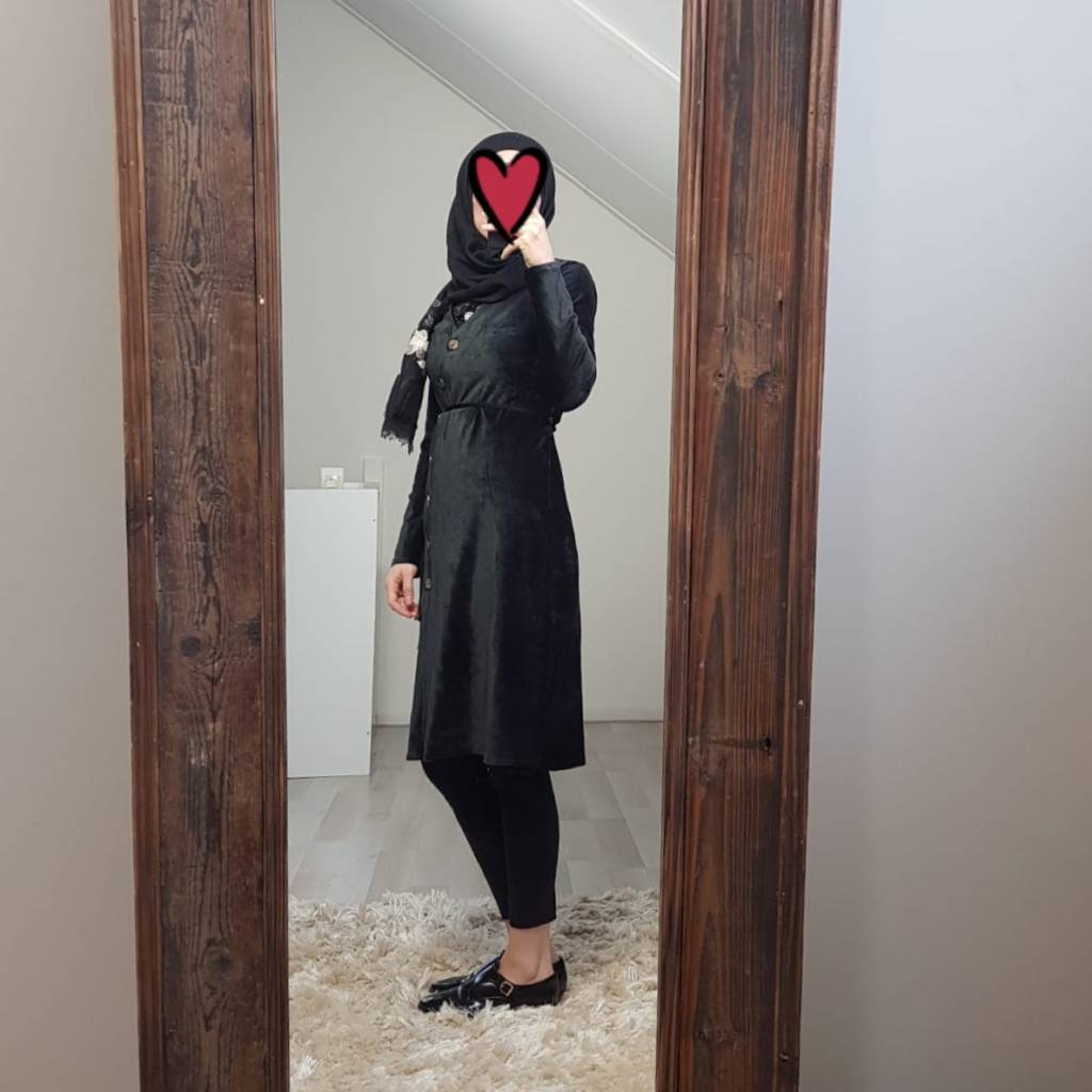 Curduroy jurkje veneto zwart