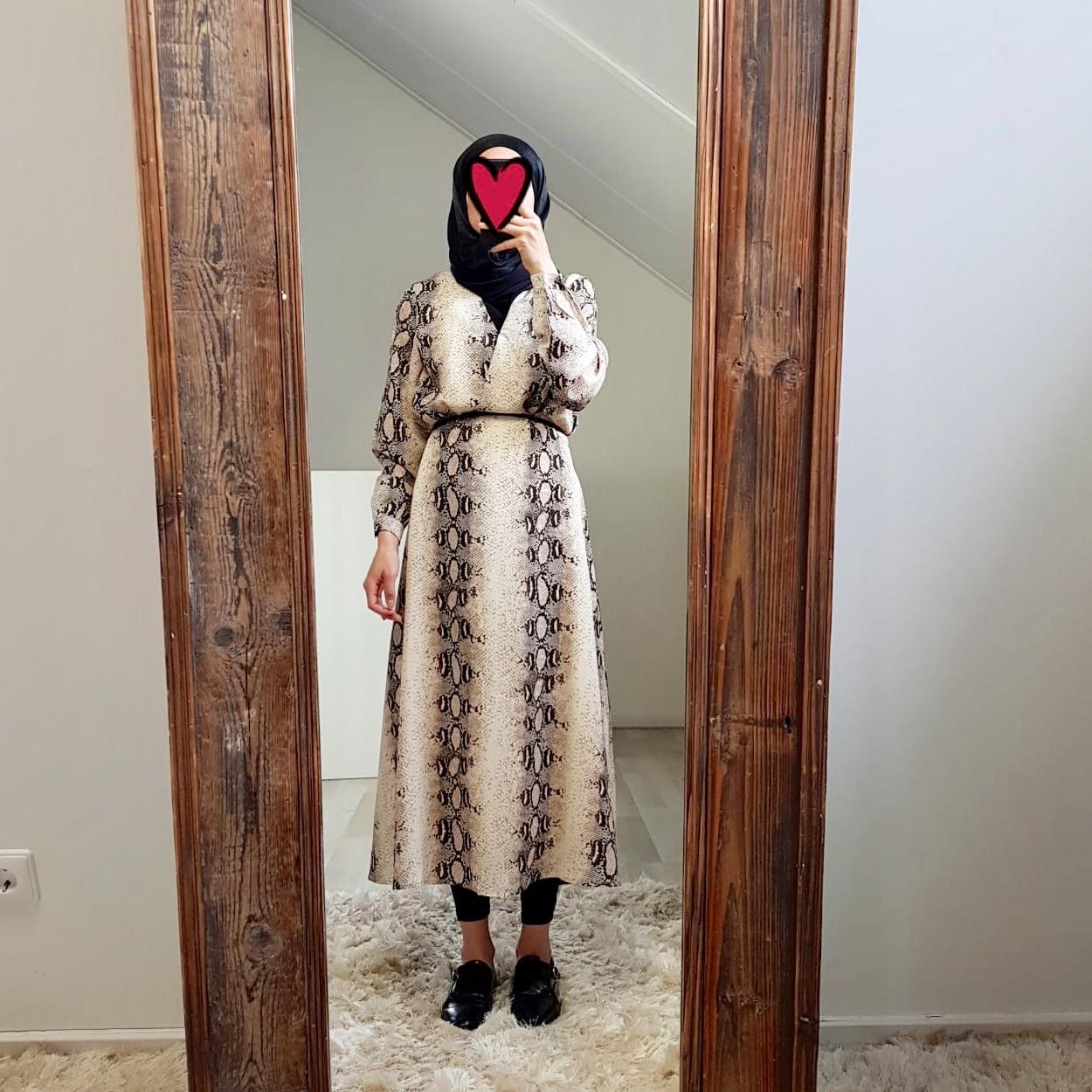 jurk slangenprint Giulianova bruin