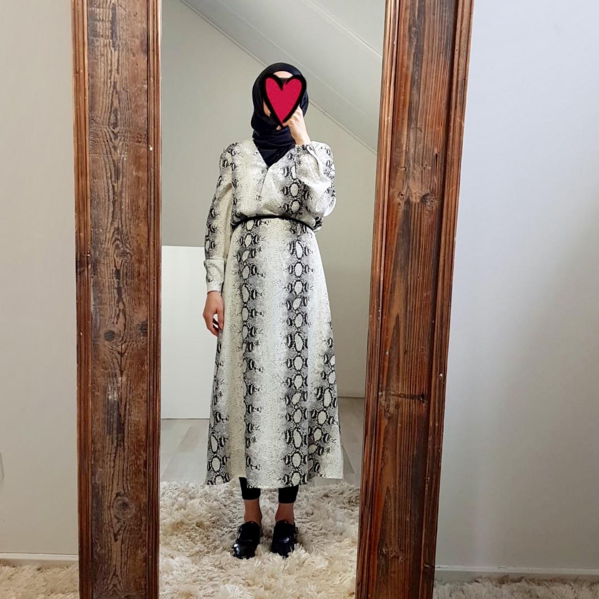 jurk slangenprint Giulianova zwart