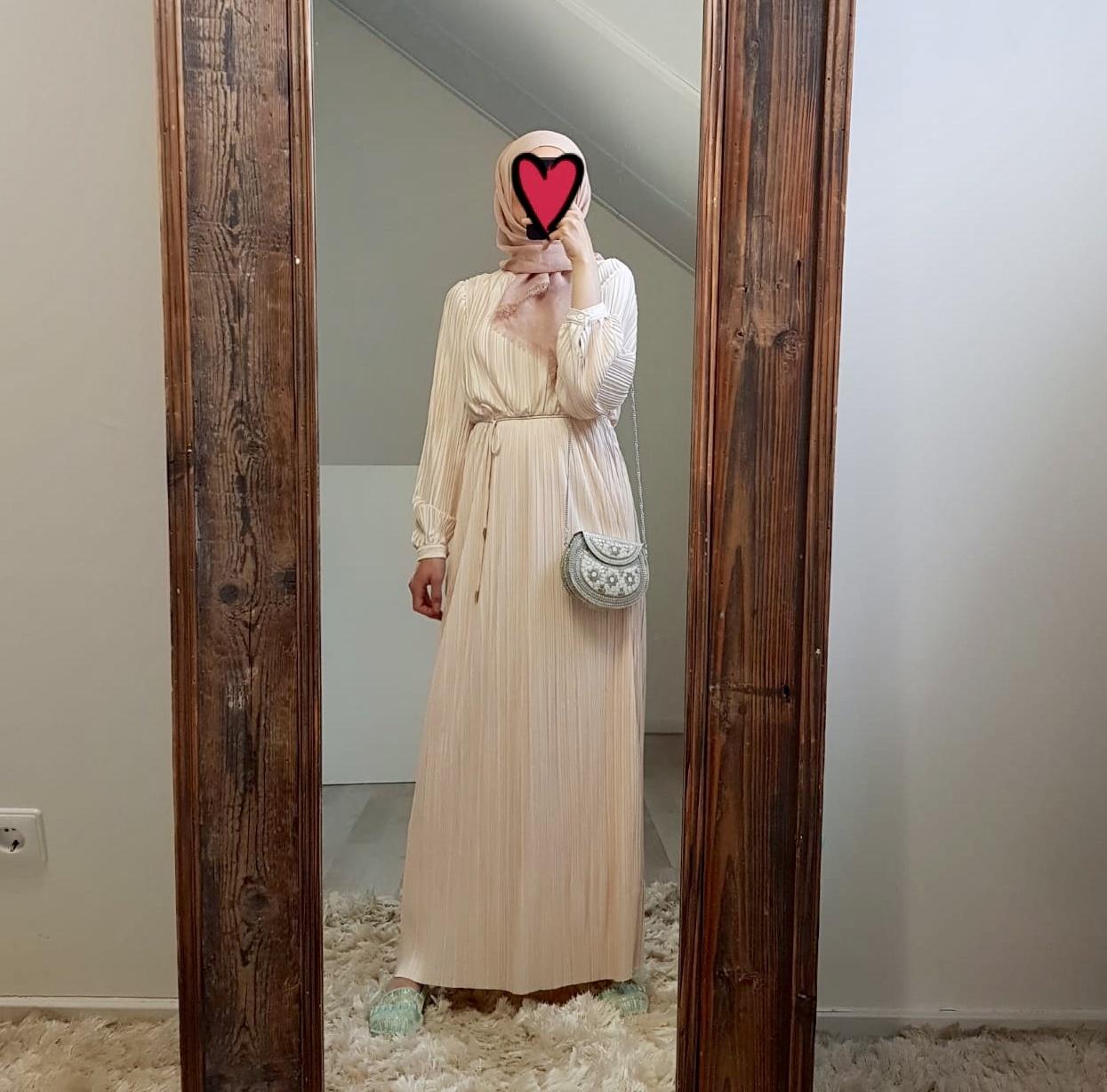 Pleated maxi jurk diamante off white