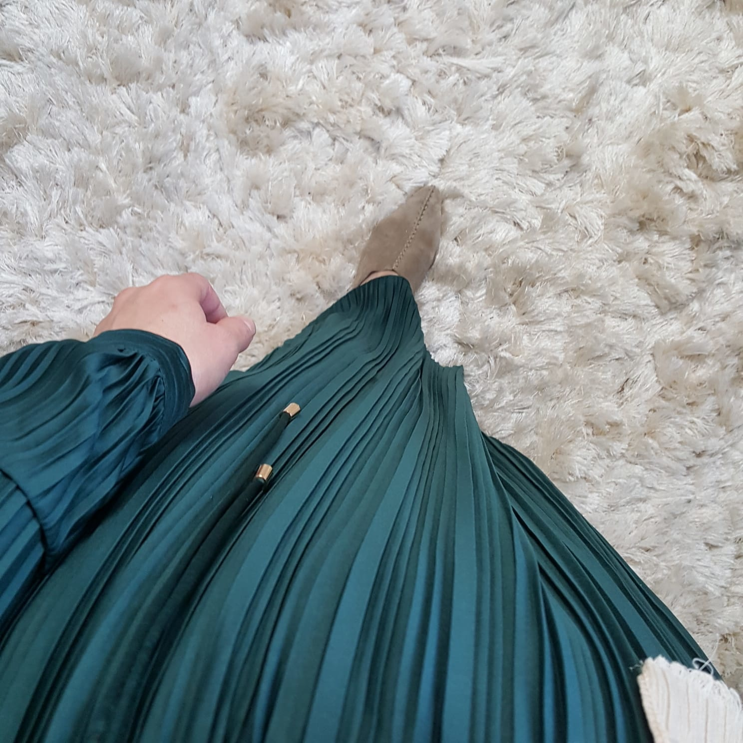 Pleated maxi jurk diamante green