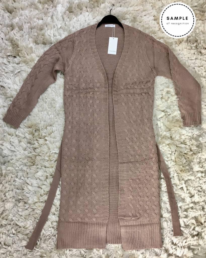 oversized vest bibione grijs oud roze