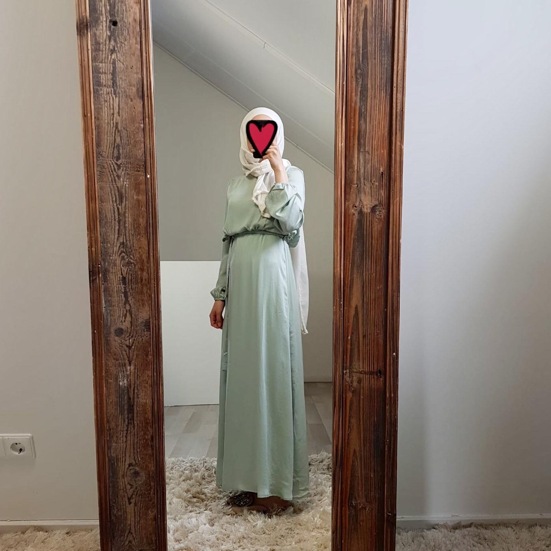 Maxi jurk (satin) scarlino mintgreen
