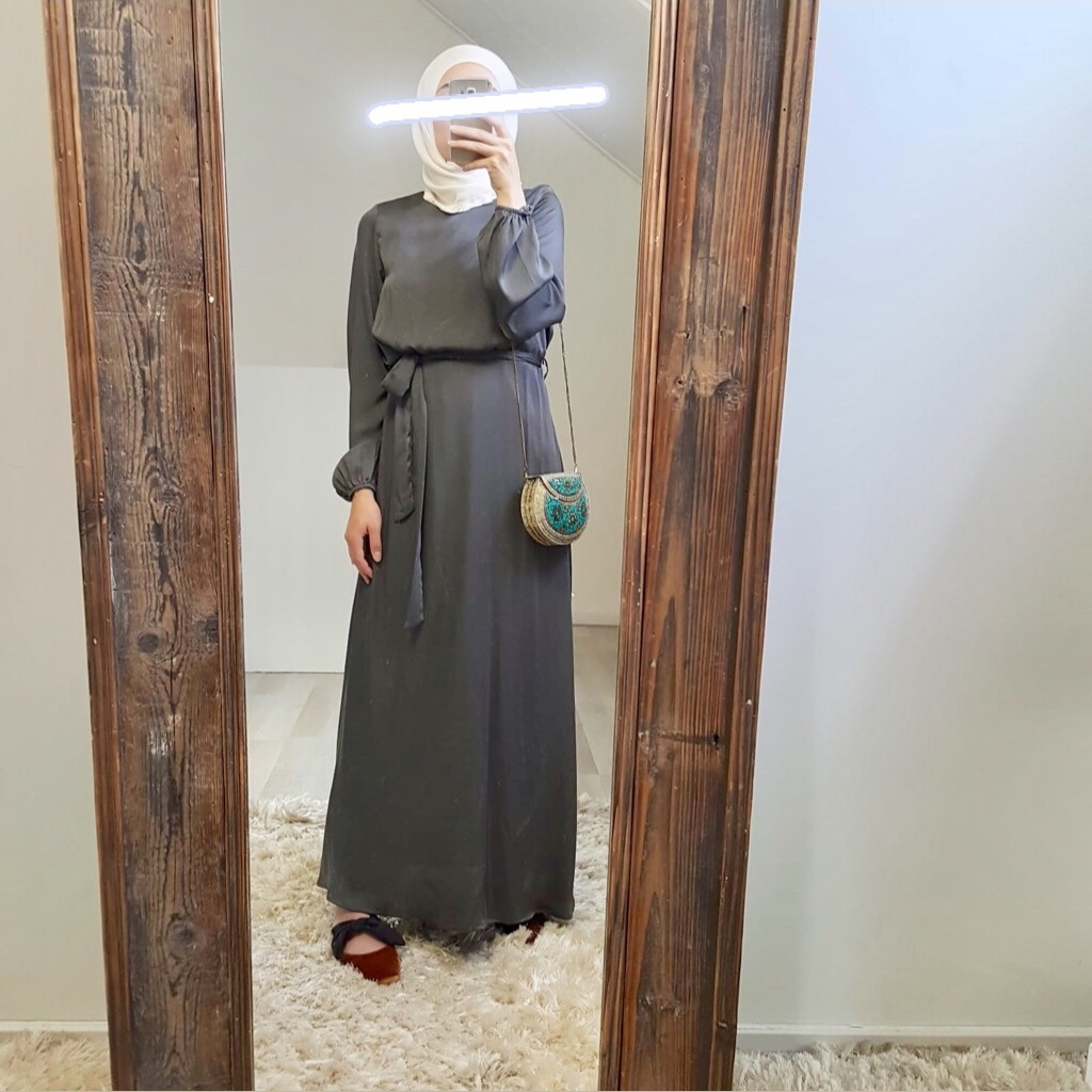 Maxi jurk (satin) scarlino antreciet