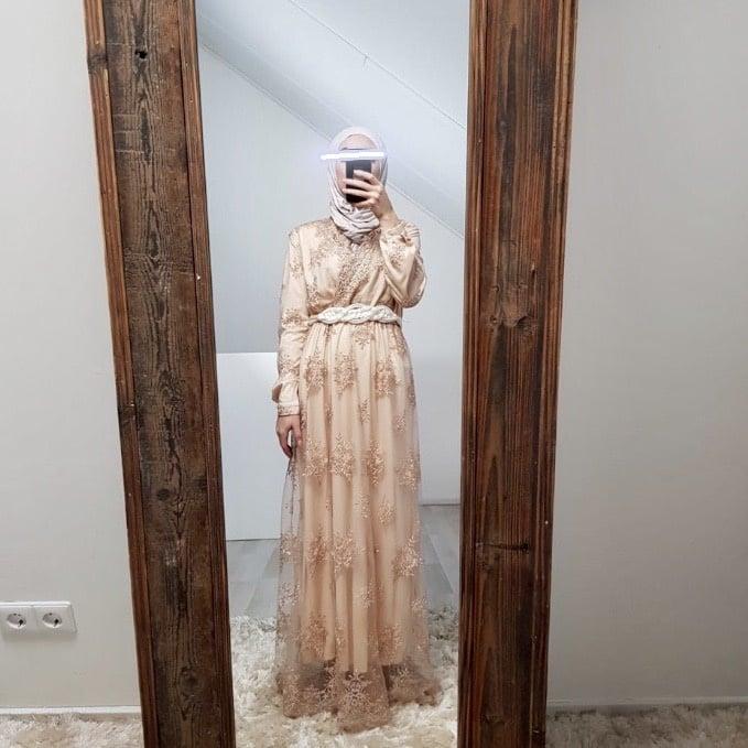 Gelegenheids jurk Furore  beige