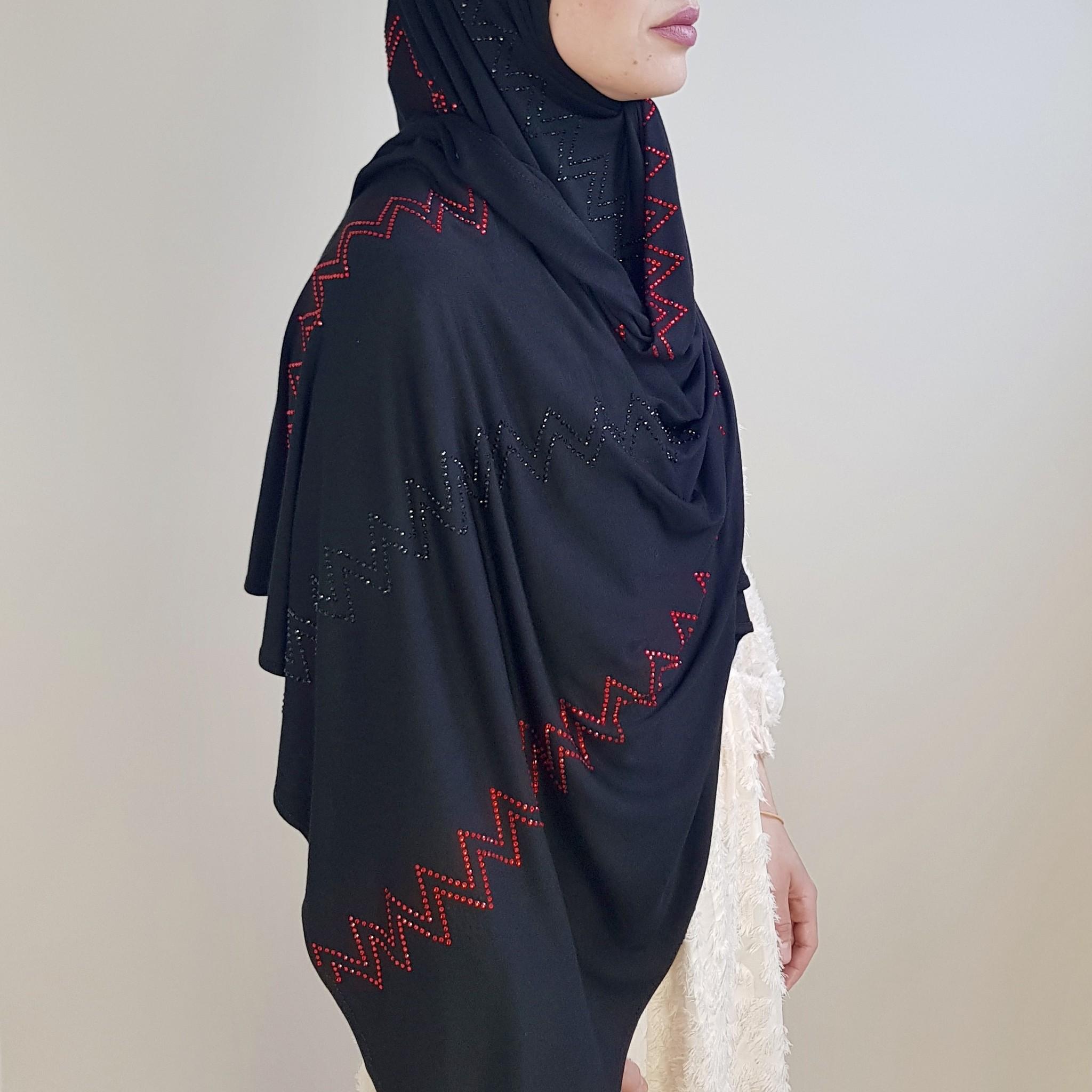 rhinestone hijab jersey  bologna black