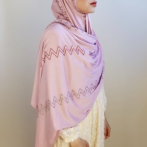 strass sjaal jersey  bologna roze