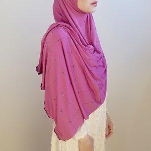 rhinestone hijab jersey roma fuchia