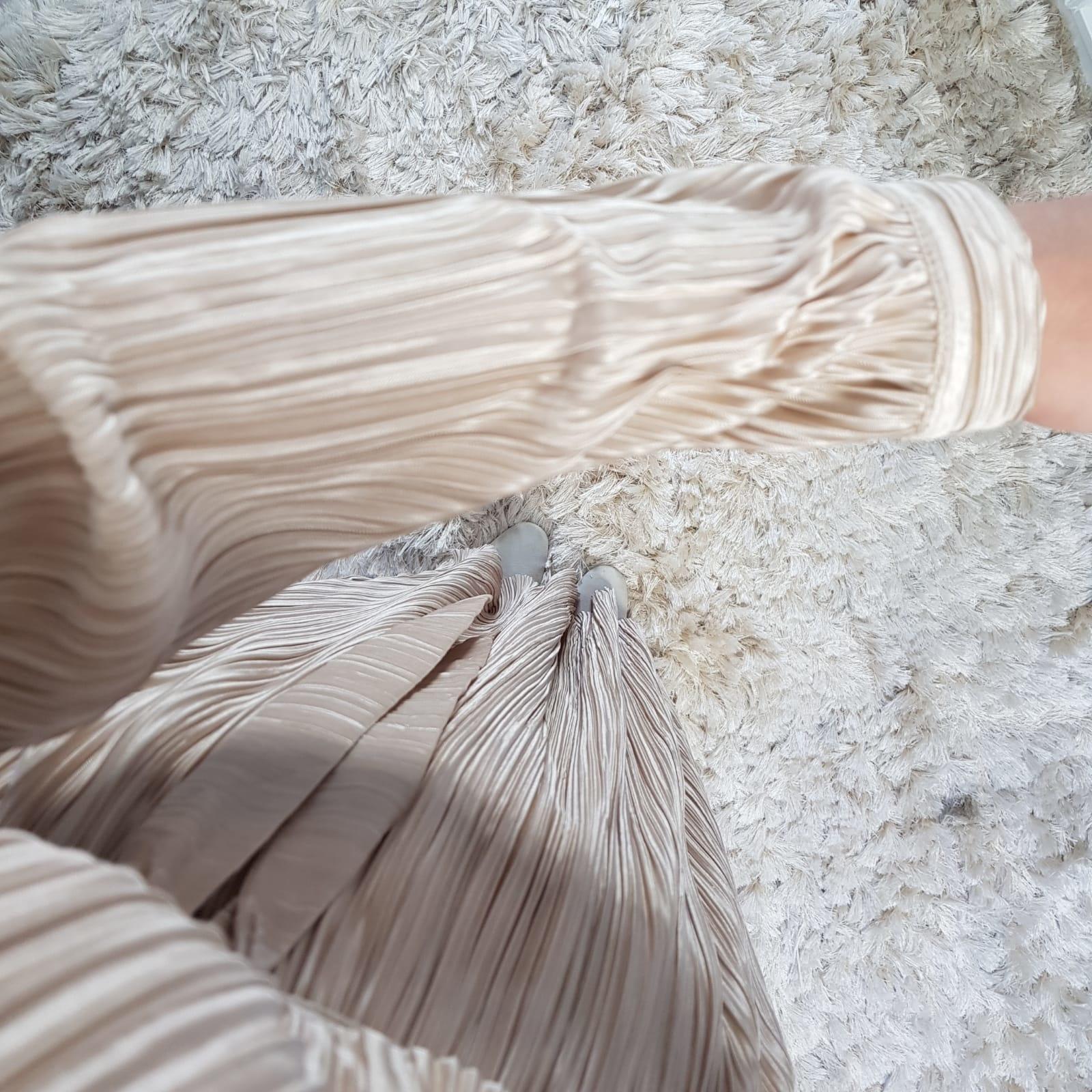 pleated dress amantea beige
