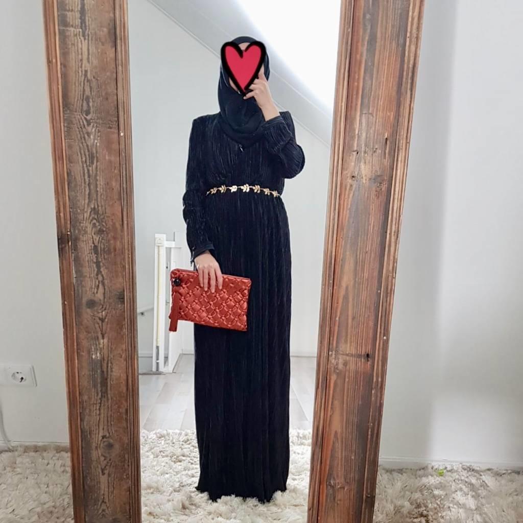 Plisse jurk amantea zwart