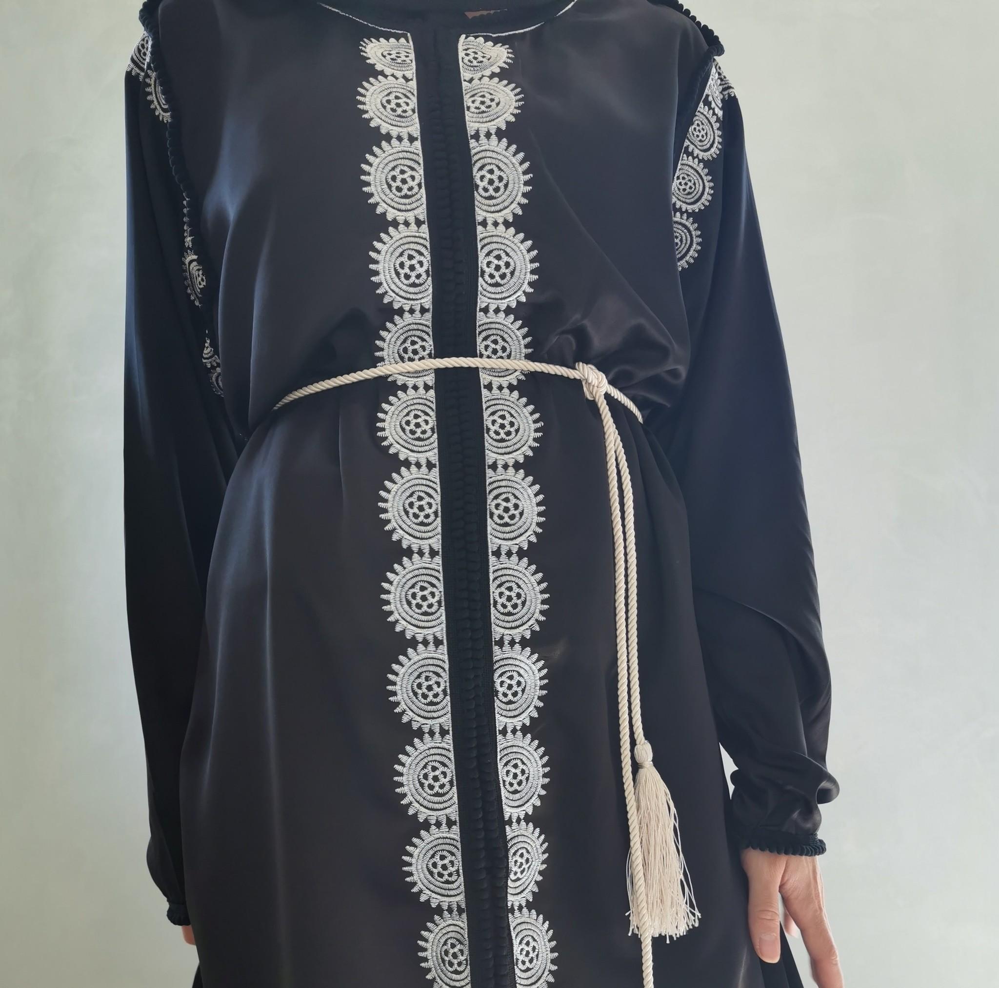 kaftan jurk arborea zwart