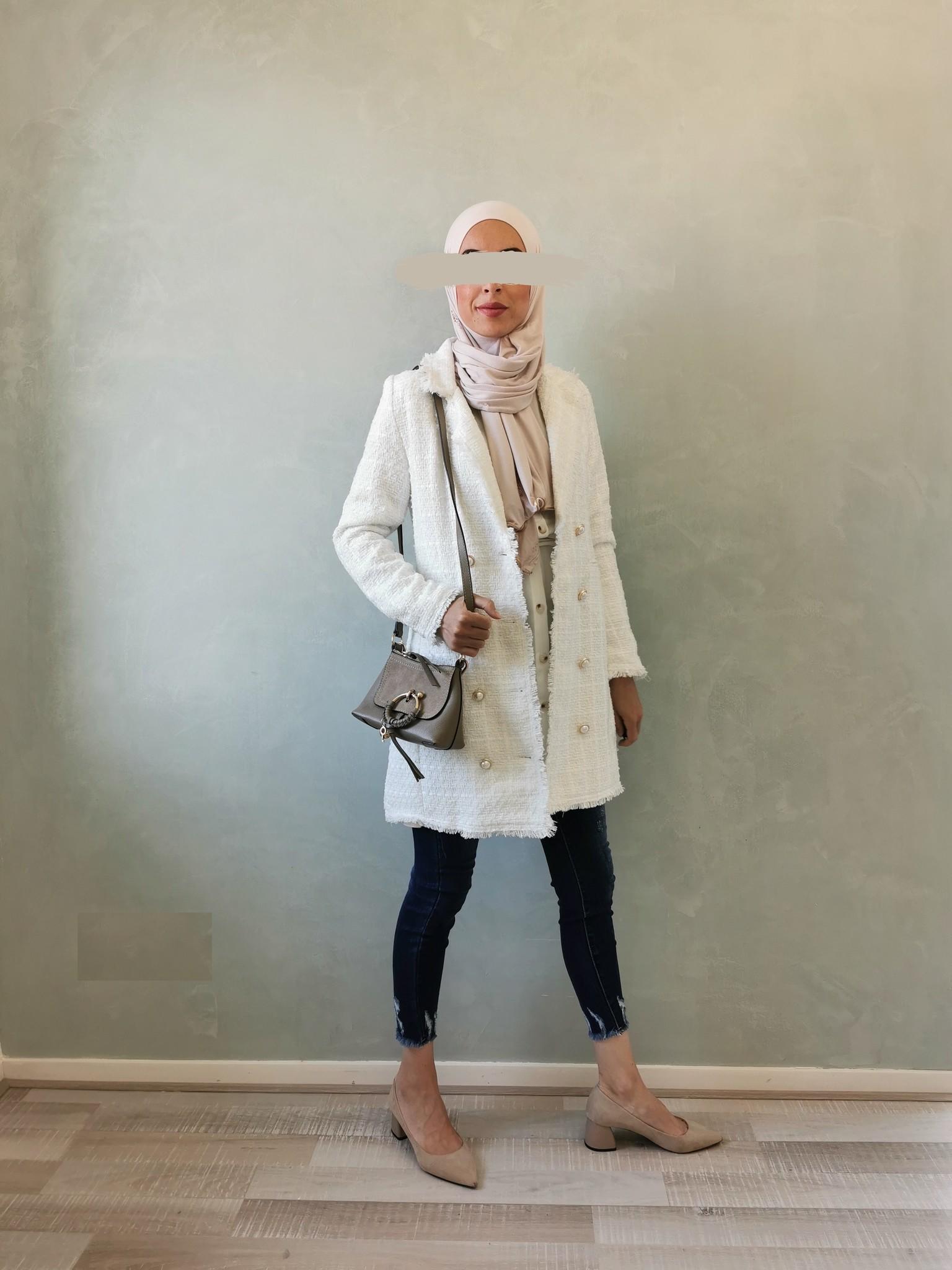 Tweed jasje alezio wit