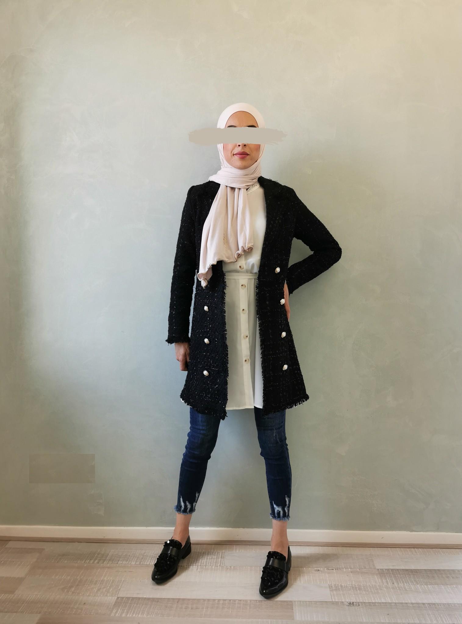 Tweed jasje alezio zwart
