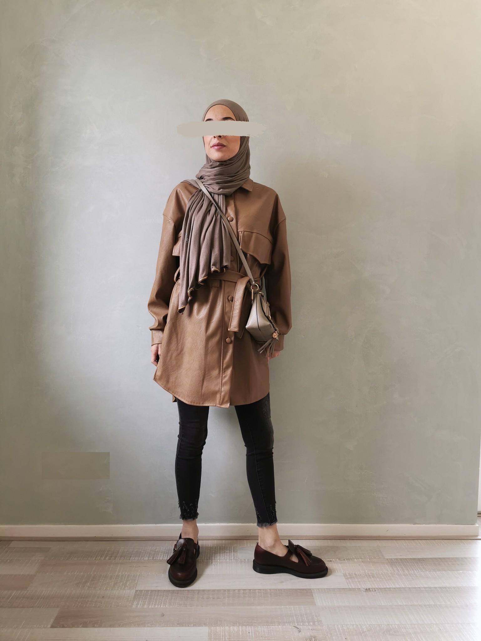 Leather look jacket eston brown